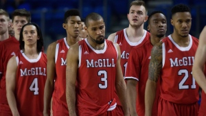 McGill Redmen basketball players leave the court after a loss in Vancouver on Thursday, March 17, 2016. (THE CANADIAN PRESS / Darryl Dyck)