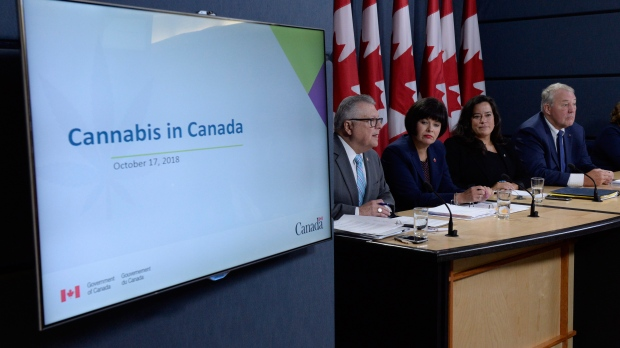Ralph Goodale (left to right), Minister of Public Safety and Emergency Preparedness, Ginette Petitpas Taylor, Minister of Health, Jody Wilson-Raybould, Minister of Justice and Attorney General of Canada, and Bill Blair, Minister of Border Security and Organized Crime Reduction, attend a news conference on the Cannabis Act in Ottawa, Wednesday, Oct.17, 2018. THE CANADIAN PRESS/Adrian Wyld