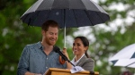 Prince Harry and Meghan, Duchess of Sussex attend a community picnic at Victoria Park in Dubbo, Australia, Wednesday, Oct. 17, 2018. Prince (Ian Vogler/Pool via AP)