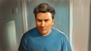 Paul Bernardo is shown in this courtroom sketch during Ontario court proceedings via video link in Napanee, Ont., on October 5, 2018.  THE CANADIAN PRESS/Greg Banning