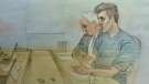 Paul Bernardo and his lawyer appear at a parole board hearing on October 17, 2018. (Sketch by John Mantha)