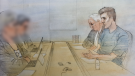 Paul Bernardo is shown in this sketch at his parole hearing in Bath, Ont., Wednesday, Oct. 17, 2018.