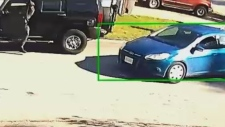 Suspect vehicles are seen in a still image from video captured Oct. 11 and released by the Integrated Homicide Investigation Team.