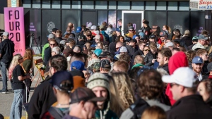 People line-up to purchase legal cannabis in Calgary, Alta., Wednesday, Oct. 17, 2018. (THE CANADIAN PRESS/Jeff McIntosh)