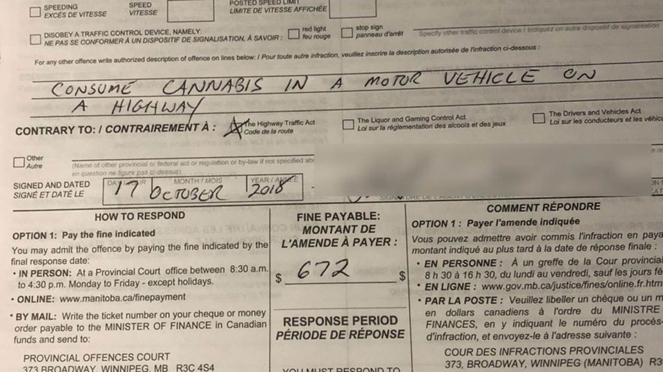 This ticket was issued by the Winnipeg Police Service early on Wednesday, Oct. 17, 2018. (@wpgpolice / Twitter)