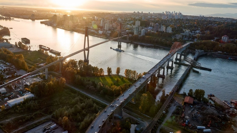 The Pattullo Bridge and SkyBridge are seen in an image captured by CTV News Vancouver's Pete Cline in Chopper 9 in 2019.