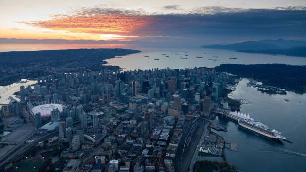 The Vancouver skyline is seen from CTV's Chopper 9 as captured by Pete Cline on Oct. 12, 2018.