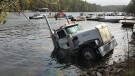 A transport truck is submerged into the Trent Severn Waterway on Wednesday, October 17, 2018. (submitted)