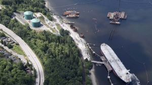 A aerial view of Kinder Morgan's Trans Mountain marine terminal, in Burnaby, B.C., is shown on May 29, 2018. (THE CANADIAN PRESS Jonathan Hayward)