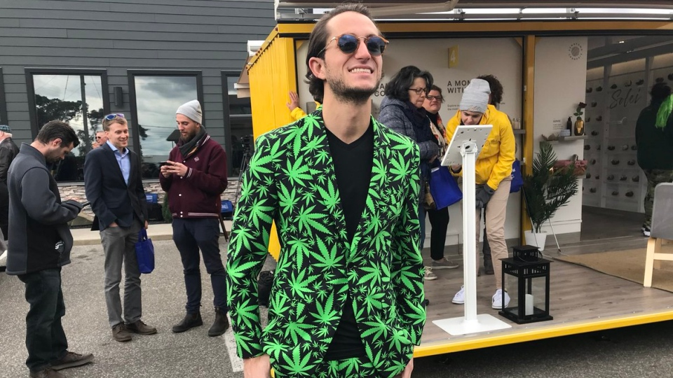 A vibrant outfit by one man at the Aphria launch party in Leamington, Ont., on Wednesday, Oct. 17, 2018. (Angelo Aversa / CTV Windsor)