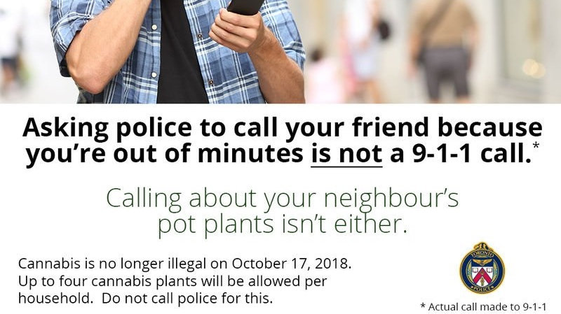 Toronto police say don't snitch on legal cannabis users