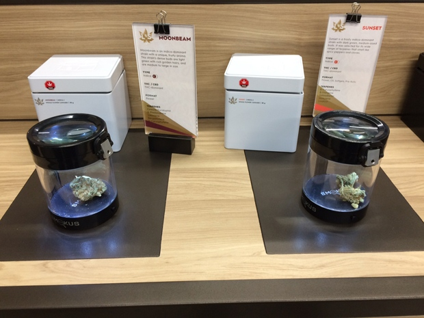 Cannabis on display at a Tweed location in Osborne Village. (Josh Crabb/CTV News.)