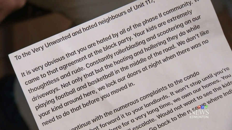 """In the angry letter, the family was told to go """"back to the reserve."""" (CTV)"""