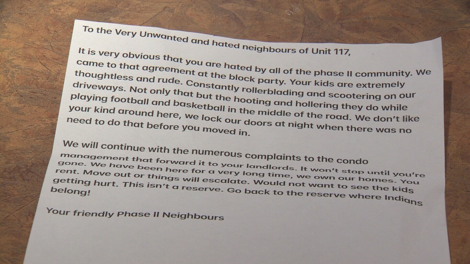 Katrina Anderson's family received this letter from a neighbour in St. Albert Monday.