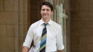 Canadian Prime Minister Justin Trudeau makes his way to caucus on Parliament Hill in Ottawa, Wednesday October 17, 2018. THE CANADIAN PRESS/Adrian Wyld