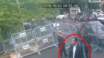 In a still image from surveillance camera footage taken Oct. 2, 2018, and published Thursday, Oct. 18, 2018, by the pro-government Turkish newspaper Sabah, a man previously seen with Saudi Crown Prince Mohammed bin Salman's entourage during an April trip to the U.S. walks toward the Saudi Consulate in Istanbul just before writer Jamal Khashoggi disappeared there. (Sabah via AP )