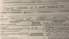 Winnipeg police posted a photo of a $672 ticket for consuming cannabis in a motor vehicle on a highway to Twitter. (Photo: WInnipeg police/Twitter)