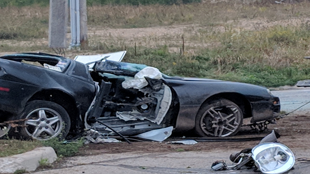One person is dead following a single-vehicle crash in Guelph on Thursday. (Photo: Marta Czurylowicz)