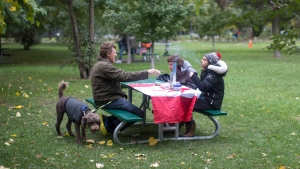 People smoke cannabis in a Toronto park on Wednesday, October 17, 2018, as they mark the first day of legalization of cannabis across Canada. THE CANADIAN PRESS/Chris Young