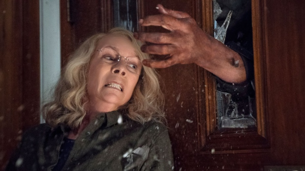 Jamie Lee Curtis in a scene from 'Halloween.' (Ryan Green / Universal Pictures via AP)