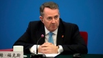 In this Wednesday, Jan. 31, 2018 file photo, British Secretary of State for International Trade Liam Fox speaks during the inaugural meeting of the UK-China CEO Council at the Great Hall of the People in Beijing. (AP Photo/Mark Schiefelbein, file)