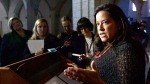 Jody Wilson-Raybould, Minister of Justice and Attorney General of Canada, makes an announcement on Parliament Hill in Ottawa on Thursday, Oct. 18, 2018, regarding the criminal justice system as it relates to animal cruelty. (THE CANADIAN PRESS/Sean Kilpatrick)