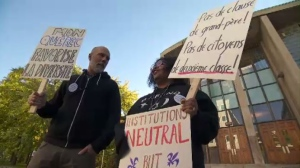 Westmount High teachers protest CAQ's proposed ban on religious symbols | CTV News