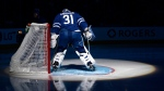 Toronto Maple Leafs' Frederik Andersen prepares his goal crease before the start of their NHL pre-season game against the Detroit Red Wings on Friday September 28, 2018 in Toronto. THE CANADIAN PRESS/Jon Blacker