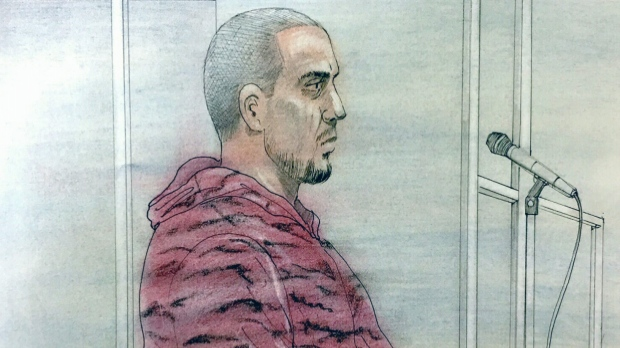 David Weaver appears before a judge in Toronto on October 18, 2018. (Sketch by John Mantha)