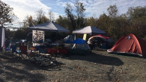 Between 15 and 20 tents were pitched at Oak Bay's Cattle Point after campers were evicted from another patch of provincial land in Saanich. Oct. 18, 2018. (CTV Vancouver Island)