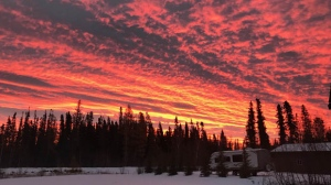 Fiery sunrise from Cranberry Portage. Photo by: Ed and Patty Klimchuk