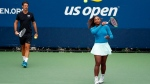 "In this Aug. 31, 2018, file photo, Serena Williams walks on a practice court with her coach, Patrick Mouratoglou, during the third round of the U.S. Open tennis tournament, in New York. Serena Williams' coach says in-match coaching should be allowed in tennis to help the sport's popularity. Mouratoglou, who admitted he used banned hand signals to try to help Williams during her loss in the U.S. Open final, wrote Thursday, Oct. 18, 2018, in a posting on Twitter that legalizing coaching and making it part of the spectacle would let ""viewers enjoy it as a show.""(AP Photo/Adam Hunger, File)"
