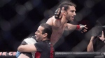 Elias Theodorou from Mississauga, Ont. celebrates his unanimous decision over Cezar Ferreira from Brazil in a middleweight bout at UFC Fight Night in Halifax on Sunday, Feb. 19, 2017. THE CANADIAN PRESS/Andrew Vaughan