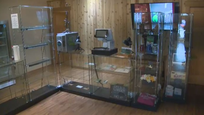 Shelves were bare at Leaf Compassion in Port Alberni after RCMP confiscated product and fined the business for selling cannabis without a licence. Oct. 18, 2018. (CTV Vancouver Island)