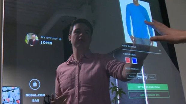 Thomas Battle, co-founder and COO of Nobal Technologies, tours CTV through some of the iMirror's functions