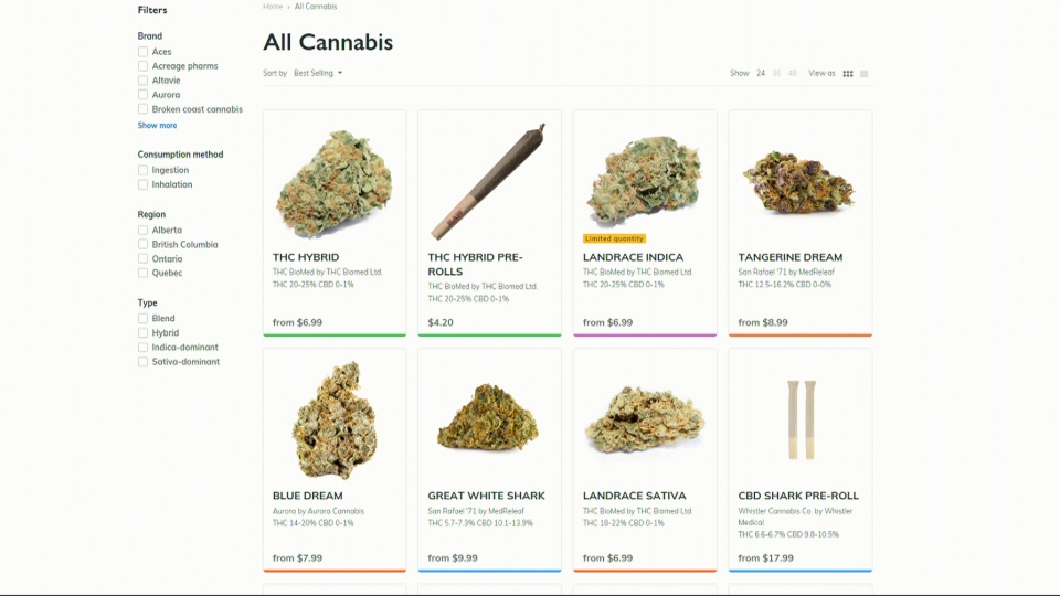 Cannabis products are seen for sale in the screenshot from B.C.'s government-run website.