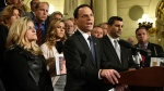 Attorney General Josh Shapiro of Pennsylvania speaks at a news conference in the state Capitol after legislation to respond to a landmark grand jury report accusing hundreds of Roman Catholic priests of sexually abusing children over decades stalled in the Legislature, Wednesday, Oct. 17, 2018 in Harrisburg, Pa. Shapiro is flanked by lawmakers and victims of child sexual abuse. (AP Photo/Marc Levy)