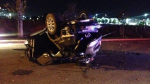 A SUV that collided with a transport truck on Hwy. 7 near Commerce Valley Drive overnight is shown. (Cam Woolley)