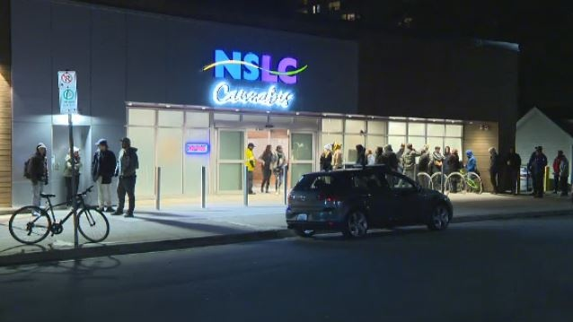 Lineups persist at the NSLC Cannabis store on Clyde Street in Halifax on Oct. 18, 2018.