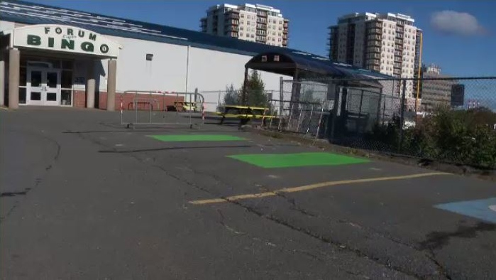 On Thursday, two accessible parking spots outside of the Halifax Forum were painted over to make room for a designated smoking area.