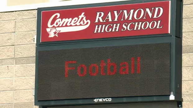 Sign outside of Raymond High School ahead of the October 19 football game against Winston Churchill High School
