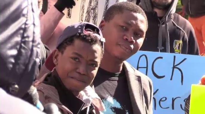 Nhlanhla Dlamini (left) was working at a construction site in Abercrombie, N.S., in September 2018 when he was struck in the back with a nail from a nail gun.