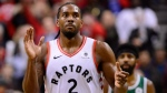 Toronto Raptors forward Kawhi Leonard (2) celebrate defeating the Boston Celtics in NBA action in Toronto on Friday, October 19, 2018. THE CANADIAN PRESS/Frank Gunn