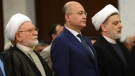 Iraqi President Barham Salih (C) attends a ceremony to mark the 37th anniversary to establishment of the Supreme Islamic Iraqi Council in Baghdad, Iraq, 13 October 2018. Iraqi President Barham Saleh during the ceremony called on the Iraqi political blocs to speed up the formation of the new Iraqi government.. EPA/MURTAJA LATEEF