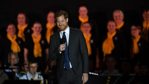 Britain's Prince Harry delivers a speech during the opening ceremony of the Invictus Games in Sydney on Saturday. (SAEED KHAN / AFP)