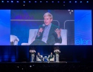 """Ellen DeGeneres and moderator Dave Kelly during """"A Conversation with Ellen"""" on Friday night at Rogers Arena. (Credit: Kenny Tai)"""