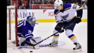 Toronto Maple Leafs goalie Frederik Andersen (31) makes a save on St. Louis Blues left wing David Perron (57) during second period NHL action in Toronto on Saturday, Oct. 20, 2018. THE CANADIAN PRESS/Frank Gunn