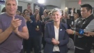 Lisa Helps is applauded by supporters as poll results show her with a sizeable lead over her next closest opponent, Stephen Hammond. Oct. 20, 2018. (CTV Vancouver Island)