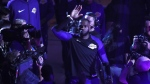 Los Angeles Lakers forward LeBron James holds up his hand as he is introduced at the beginning of the NBA basketball game between the Los Angeles Lakers and the Houston Rockets at the Staples Center in Los Angeles, California, USA, 20 October 2018. EPA/MIKE NELSON SHUTTERSTOCK OUT