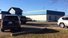 EPS had cordoned off parts of the Royal Gardens Community League parking lot Sunday morning.
